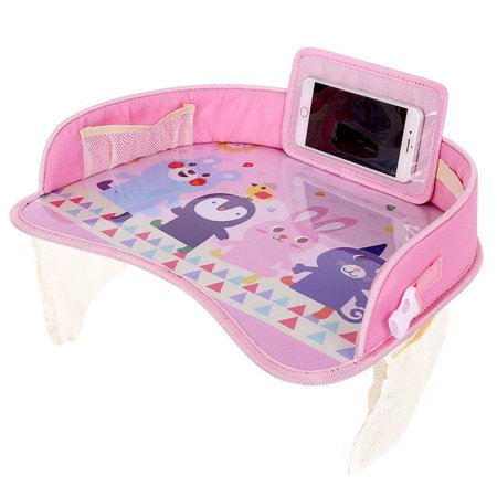 Supersellers Kids Baby Toddler Multi-function Travel Lap Desk Tray Universal Fit for Car Seat, Stroller - Portable Car Drawing Board, Snacks, Activities Table for Baby Kids Design - Pink Car Seat Tray Table