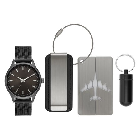 Men's Gunmetal Watch Gift Set with Money Clip and Luggage Tag