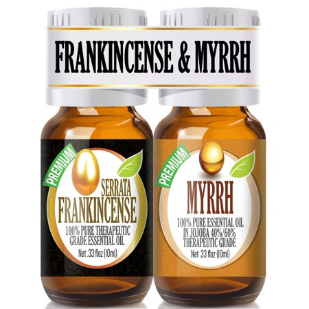 Frankincense and Myrrh Essential Oil Combo Pack 100% Pure, Best Therapeutic Grade Essential Oil -