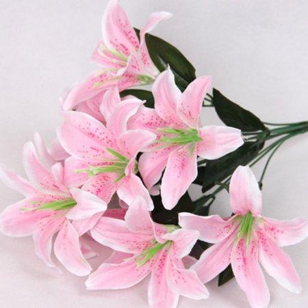 Artificial Bouquet 10 Head Lilies Silk Flower Fake Leaf Home Decor