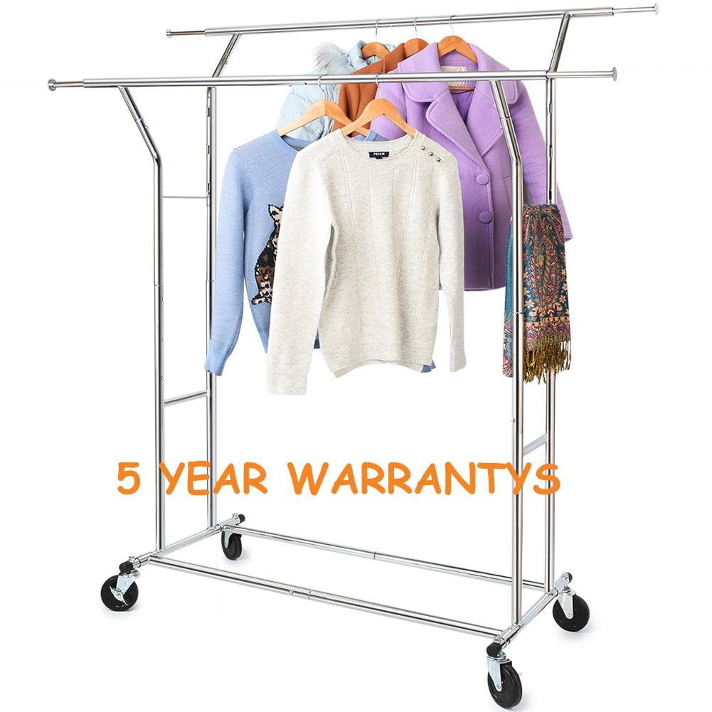 330 Lb Heavy Duty Clothing Garment Rackscommercial Grade Adjustable Collapsible Rolling Clothes Rack Walmart Com Walmart Com