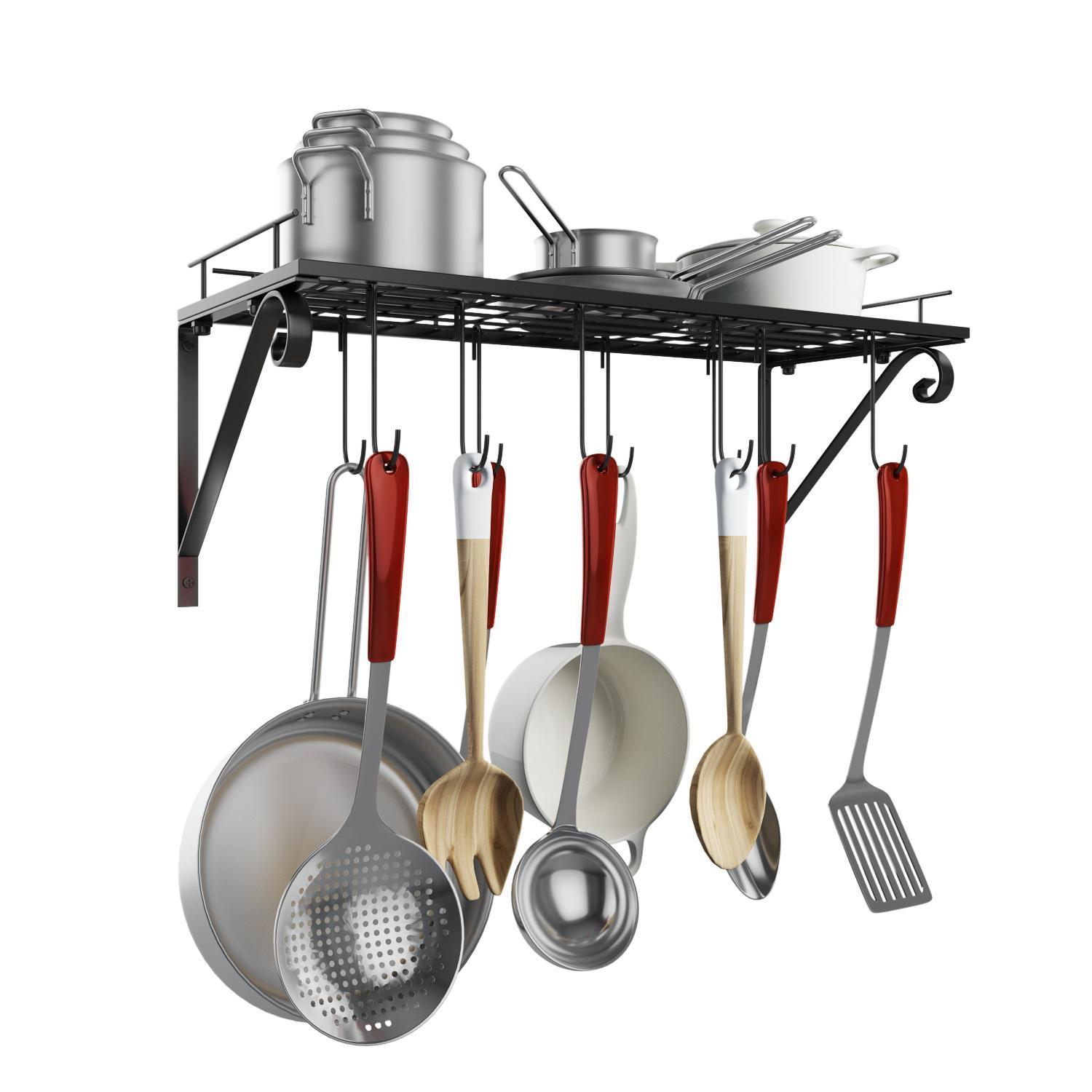 Delicieux Hanging Rack,Modern And Stylish Kitchen Cabinets Wall Pot Pan Rack With 10  Hooks,