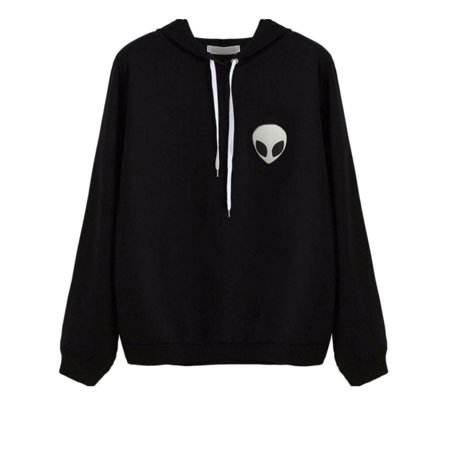 Lavaport Women Alien Embroidered Print Long Sleeve Hooded Sweater -