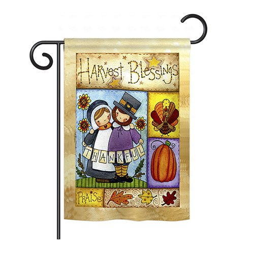 Breeze Decor Thankful Pilgrims 2 Sided Vertical Flag Walmart Com Walmart Com