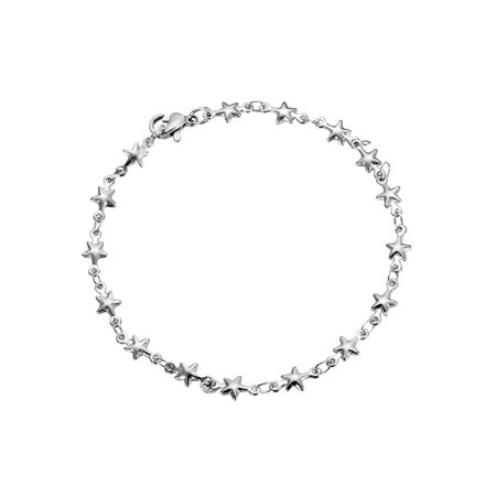 Stainless Steel Silver Tone Dainty Everyday Star Chain Fashion Jewelry Bracelet