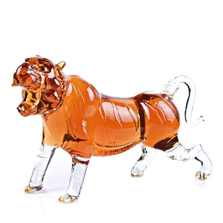 Animal Decanters Large 35-Oz Roaring Tiger Glass Figurine, Lead Free Mouthblown Liquor Decanter For Bourbon, Whiskey, Scotch, Rum, Tequila