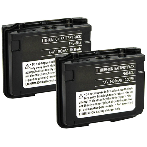 """Battery for Yaesu FNB-80 (2-Pack) Two-Way Radio Battery"""