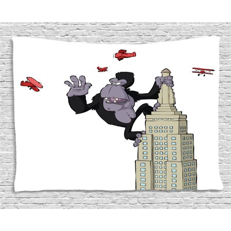 Animal Tapestry, Cartoon Theme Big Monkey on Skyscraper and Planes on White Background Print, Wall Hanging for Bedroom Living Room Dorm Decor, 80W X 60L Inches, Beige Black and Red, - Animal Theme