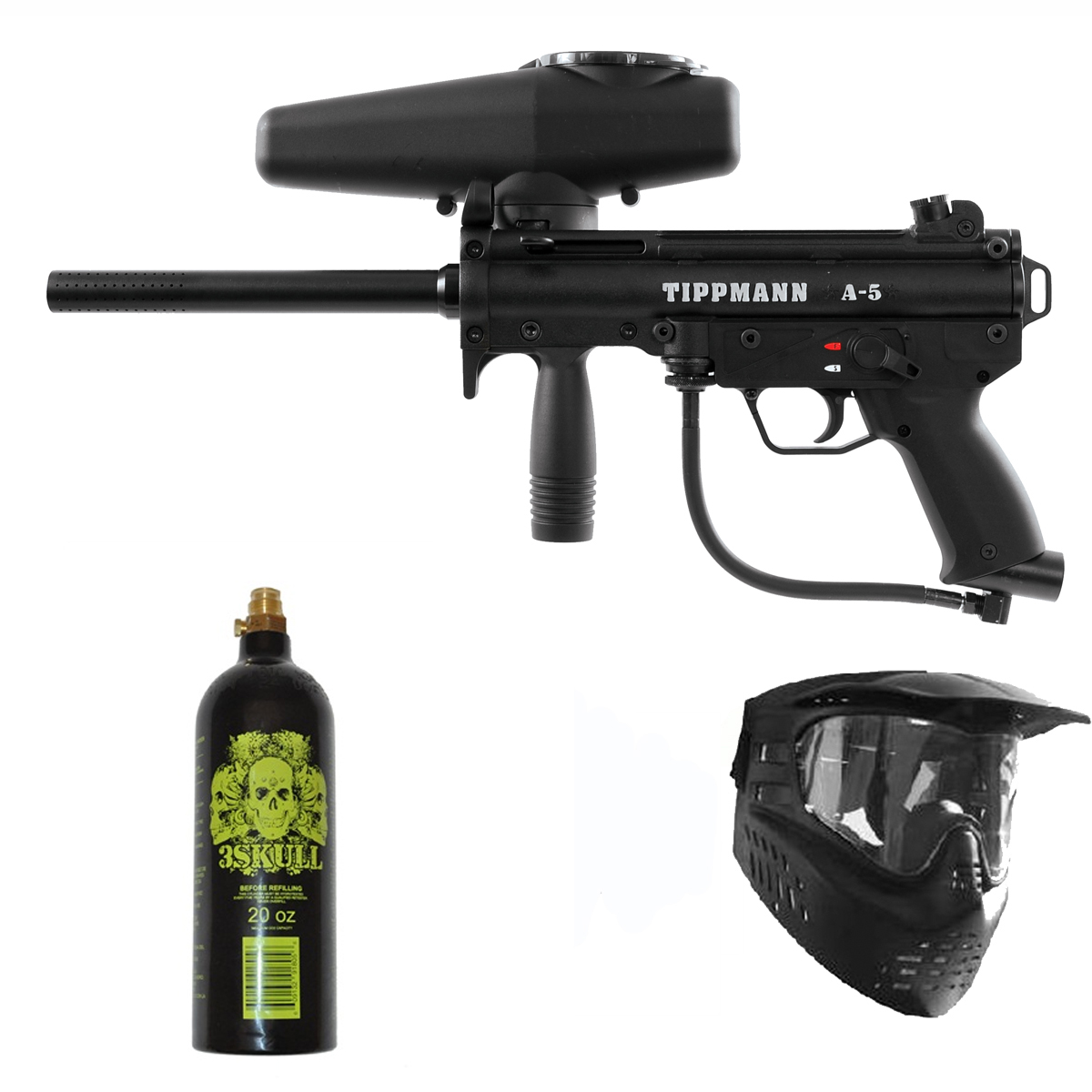 Click here to buy Tippmann A-5 Paintball Marker Gun 3Skull Package.