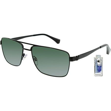 Emporio Armani EA2019 300171 Matte Black/Gray Green Sunglasses Bundle-2 (Armani Folding Sunglasses)