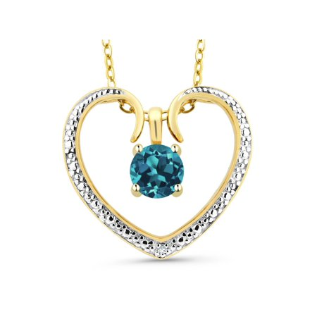 0.70 Ct Round London Blue Topaz 18K Yellow Gold Plated Silver Pendant With Chain Blue Topaz Round Necklace