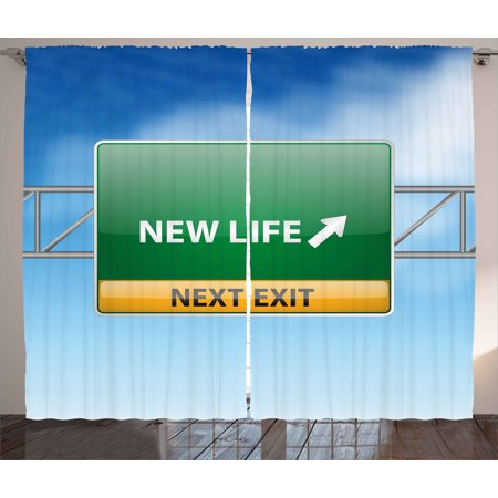 Going Away Party Curtains 2 Panels Set, New Life Concept with Road Sign on Blue Sky Next Exit Art Print, Window Drapes for Living Room Bedroom, 108W X 108L Inches, Blue Green Yellow, by Ambesonne