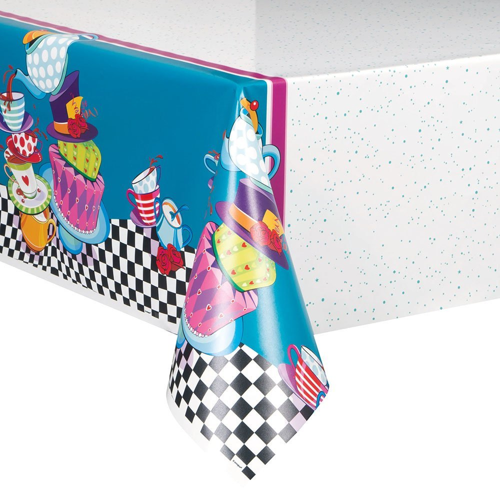 "(3 Pack) Plastic Alice in Wonderland Tea Party Table Cover, 84"" x 54"""