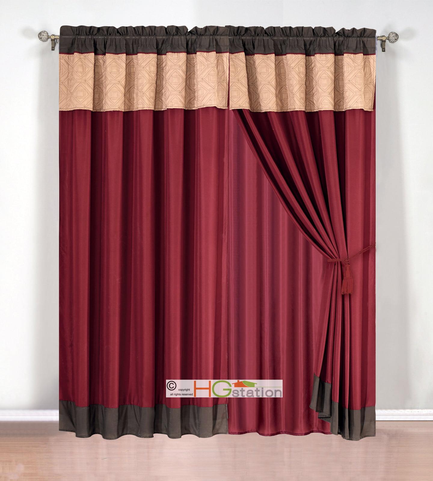 4-Pc Quilted Tile Diamond Square Curtain Set Valance Drape