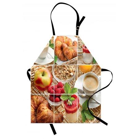 Kitchen Apron Breakfast with Coffee Croissants Orange Juice Fresh Strawberry Yogurt Oatmeal Photo, Unisex Kitchen Bib Apron with Adjustable Neck for Cooking Baking Gardening, Multicolor, by