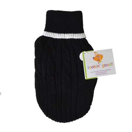 Fashion Pet Cable Knit Dog Sweater - Black X-Small (8-10 From Neck Base to Tail) ()