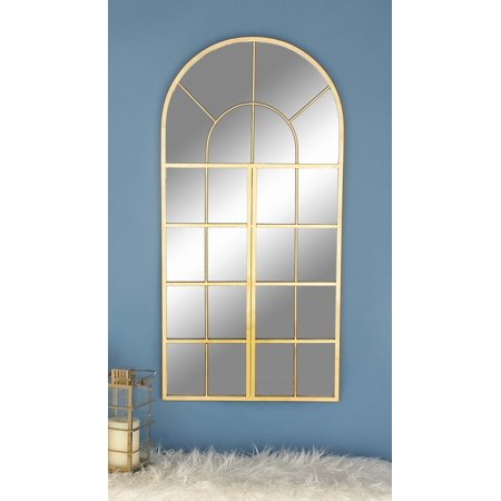 48 Inch Arch - Decmode Contemporary 48 X 24 Inch Metal Gold Arched Wall Mirror, Gold