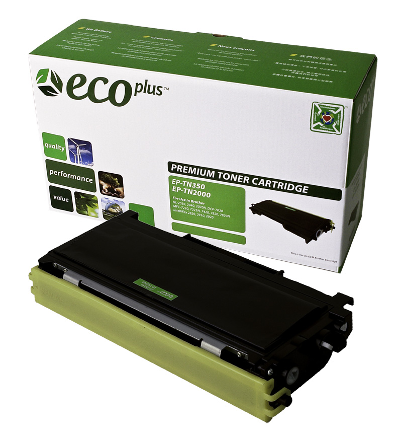ECOPlus ™ Remanufactured Toner Cartridge for Brother TN2000, TN320, TN350 (Premium Quality TONER CTG, BLACK, 2.5K HIGH YIELD)