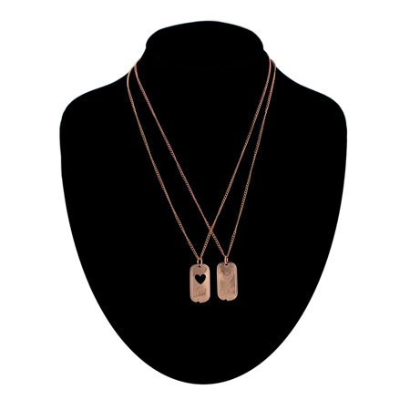 Rose Gold Dog Tags (BFF Best Friends Pendant Necklaces Dog Tag Military Style with Heart Rose Gold Tone  Set 2 )