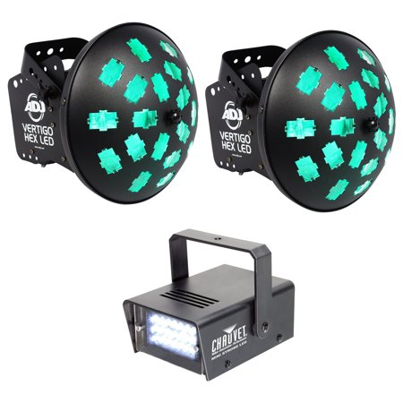 (2) American DJ VERTIGO HEX LED 12w 6-Color Dance Floor FX Lights + Strobe (Led Fx Pak)