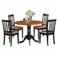 East West Furniture Dublin 5 Piece Drop Leaf Dining Table Set with Antique Faux Leather Seat Chairs