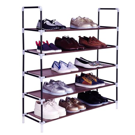 5 Tier Shoe Organizer for Closets, Shoe Storage, Non-woven Fabric Shoe Shelf, Heavy Duty Boot Rack with Metal Tubes, Rustproof Shoe Stand for Entryway Foyer, 39