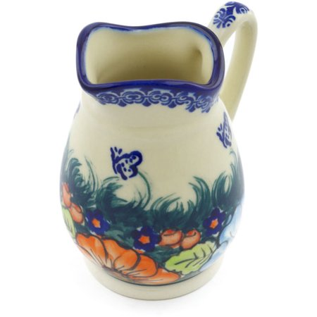 Polish Pottery 11 oz Pitcher (Butterfly Splendor Theme) Signature UNIKAT Hand Painted in Boleslawiec, Poland + Certificate of Authenticity