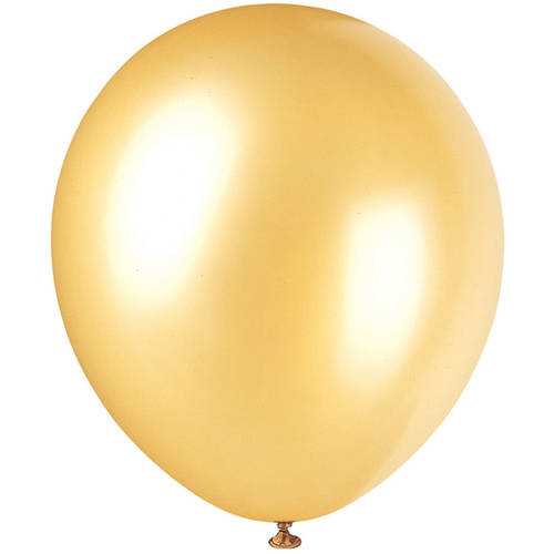 Pearlized Latex Balloons, 12 in, Gold, 72ct - White Balloons With Glow Sticks