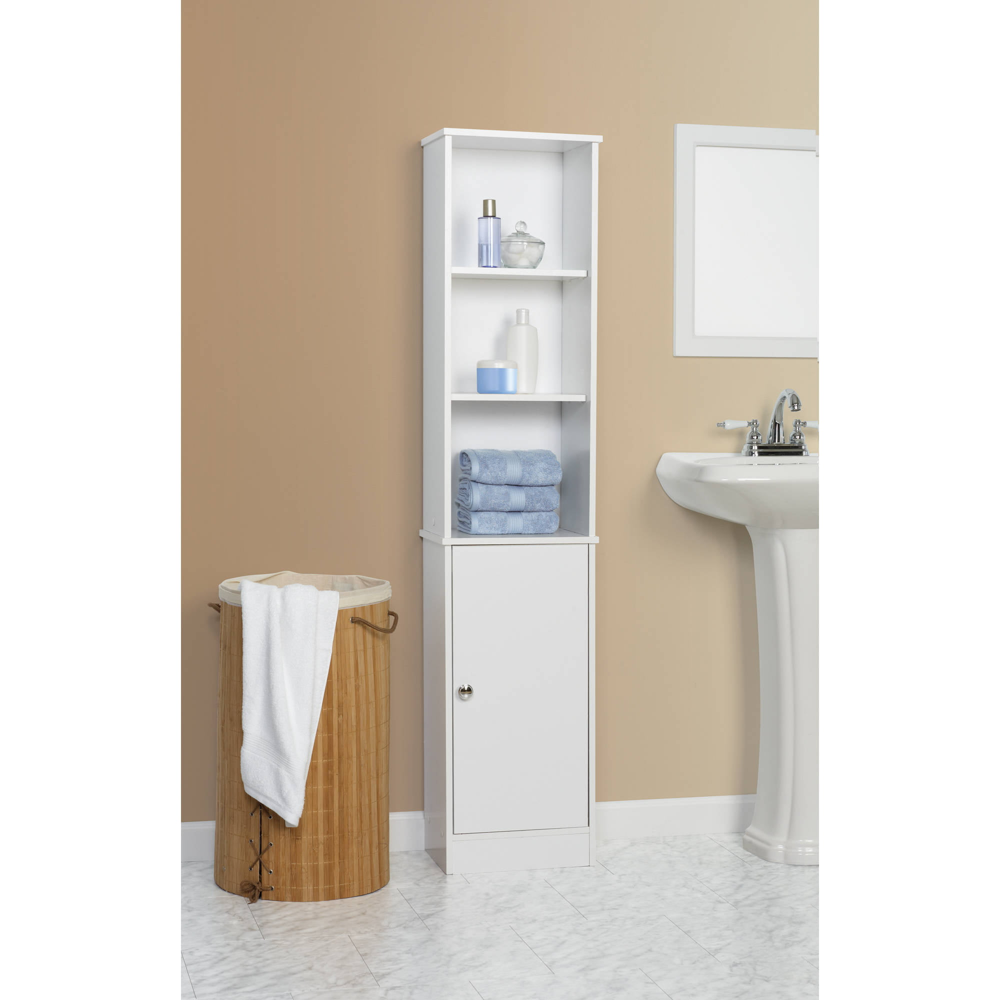Wooden Tall Storage Cabinet Bathroom White Linen Tower