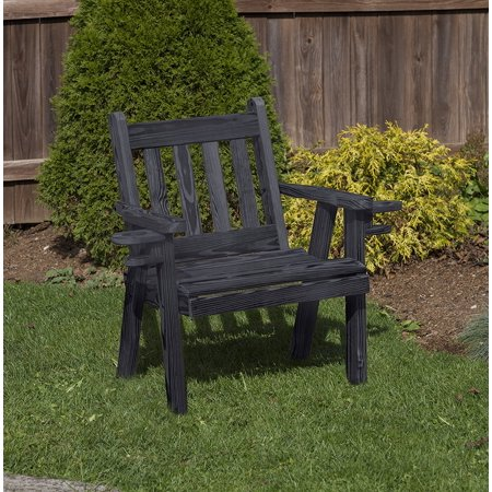 Black Amish Heavy Duty 800 Lb Mission kiln-dried pine Garden Patio Outdoor CHAIR 2 FEET with cup holders Made in USA