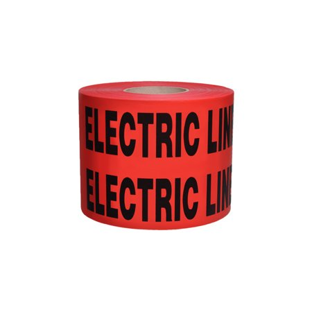 Non-Detectable Underground Tape - Caution Buried Electric Line Below-Disp Box - 6 in x 1000 ft Roll 4 Roll/Case - Red