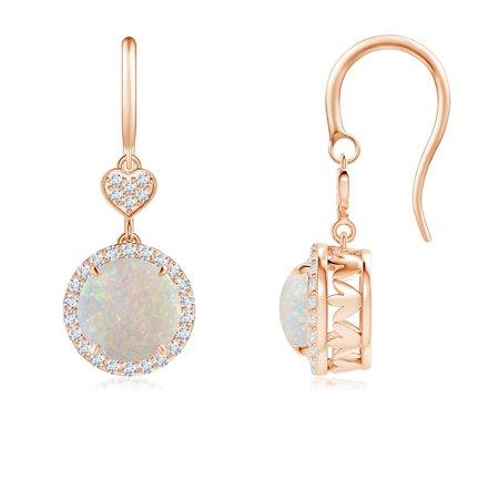 October Birthstone Earrings - Claw-Set Cabochon Opal Dangle Earrings with Heart Motif in 14K Rose Gold (7mm Opal) - SE1043OPD_N-RG-AA-7