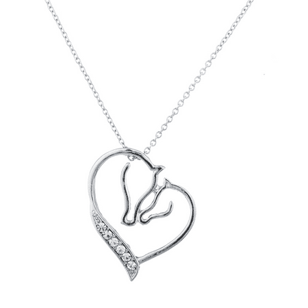 - Lux Accessories Silver Tone Crystal Rhinestone Mother Child Horse Heart Necklace