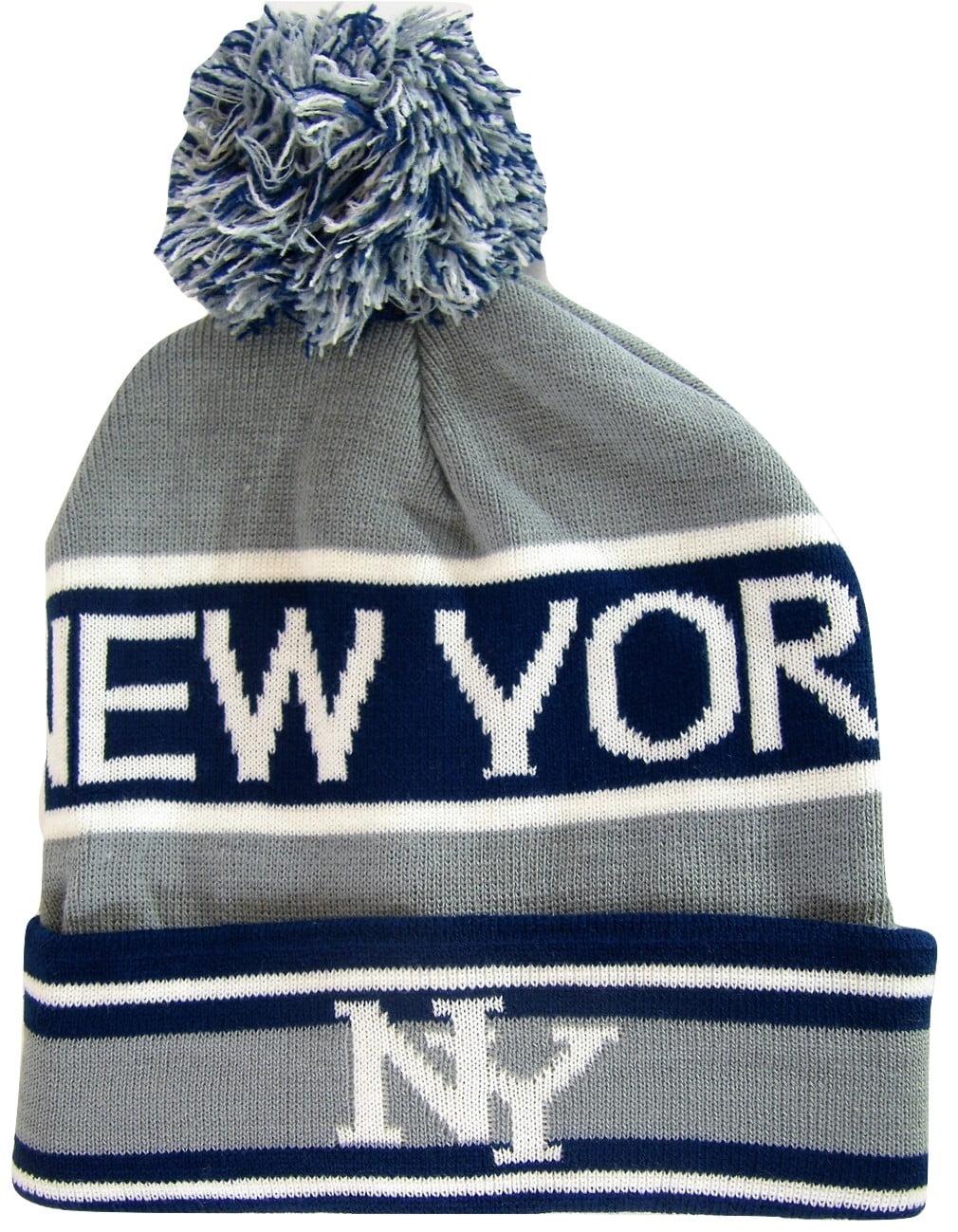 5cbe87fdf89 New York Headwear - New York City NY Men s 2-Tone Winter Knit Pom Beanie  Hats (Gray Navy) - Walmart.com