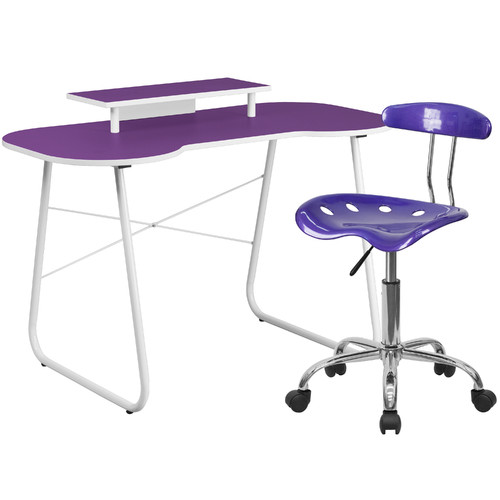 Flash Furniture Computer Desk with Monitor Stand and Tractor Chair in Purple