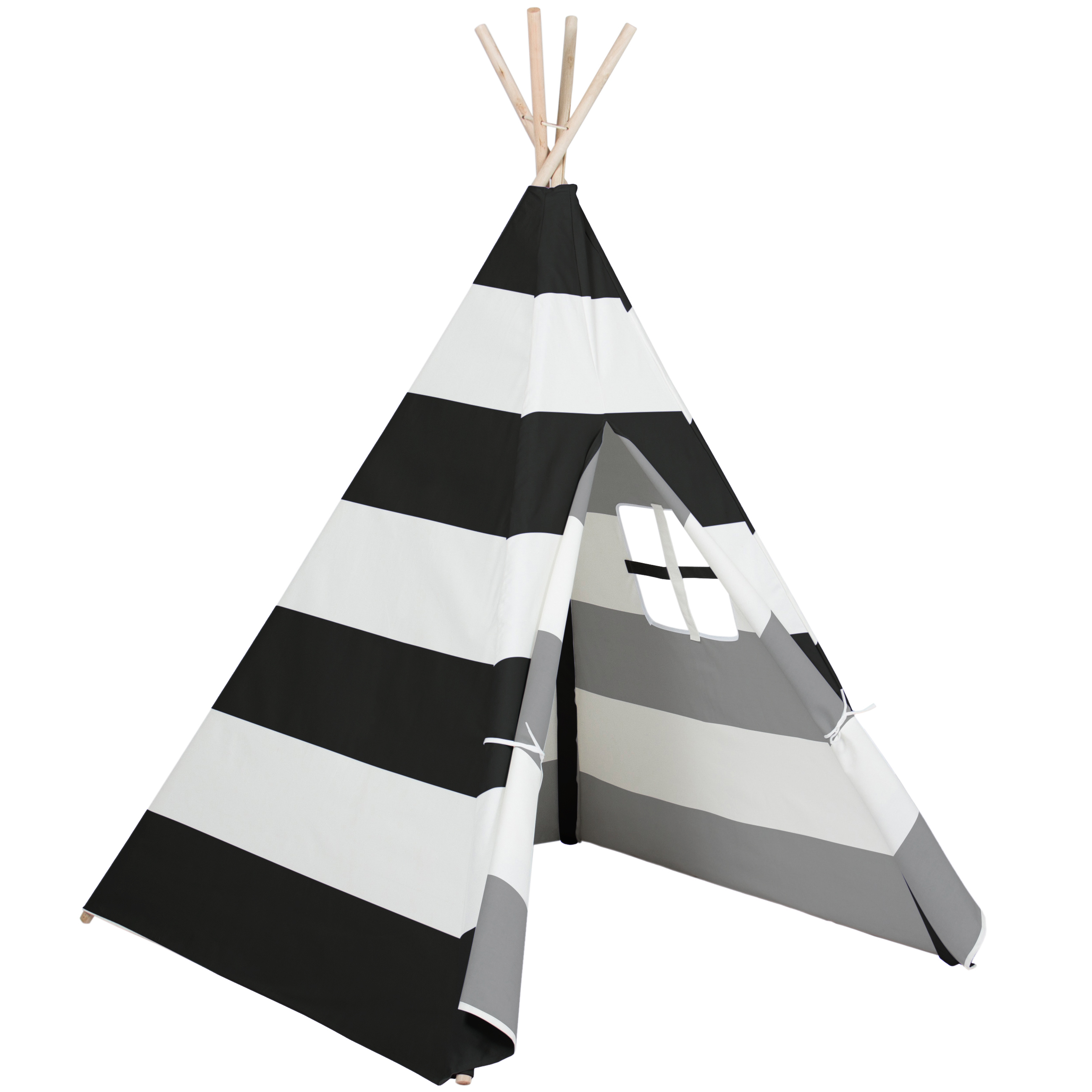 Best Choice Products 6ft Kids Stripe Cotton Canvas Indian Teepee Playhouse Sleeping Dome Play Tent w/ Carrying Bag, Mesh Window - White/Black
