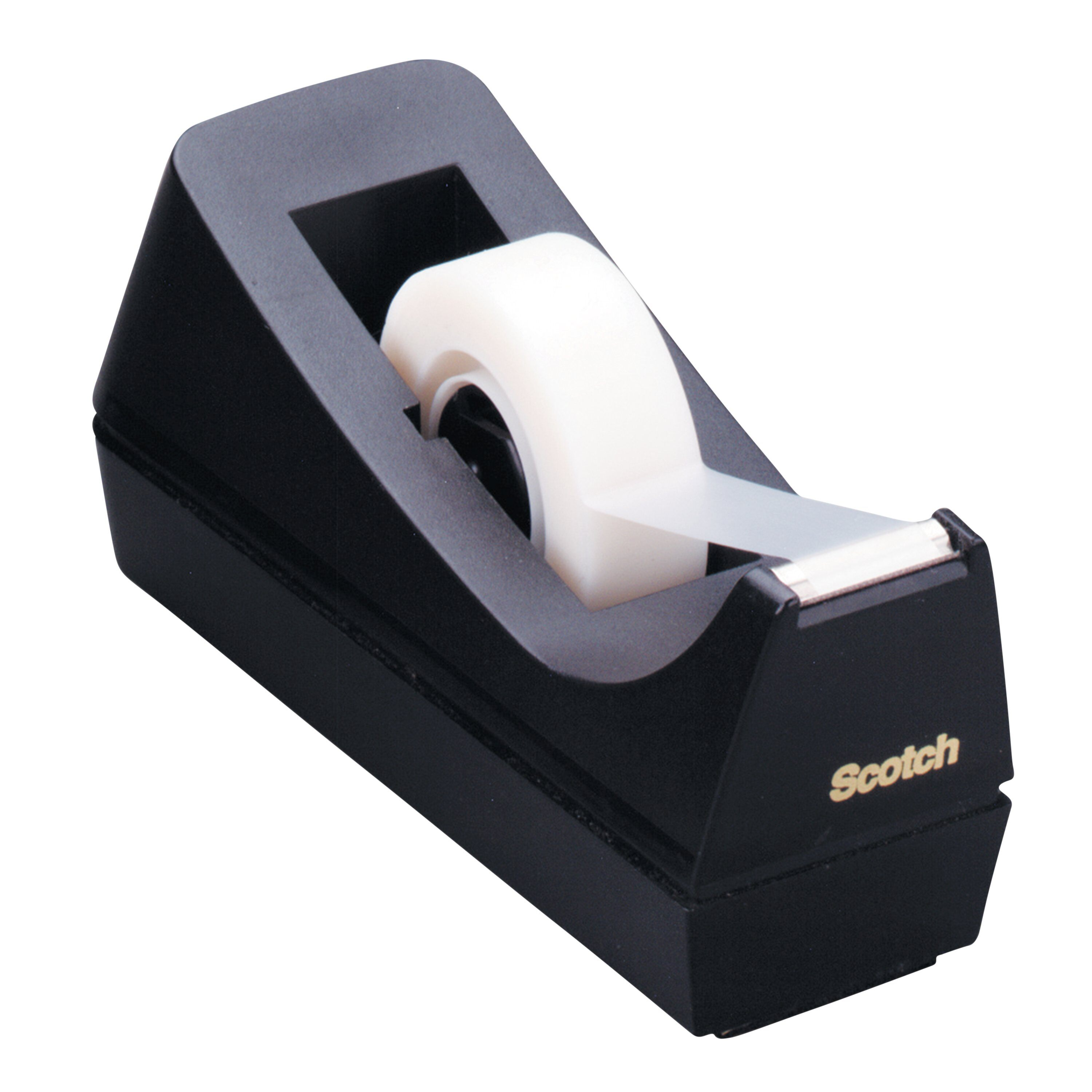 Made of 100/% Recycled Plastic 1 Pack Black Scotch Brand Desktop Tape Dispenser 1 Core C-38 Weighted Base 1-Pack