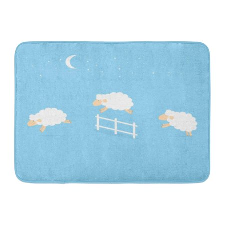 KDAGR Blue Count Counting Sheep Jumping Over The Fence Green Sleep Jump Cute Doormat Floor Rug Bath Mat 23.6x15.7 inch