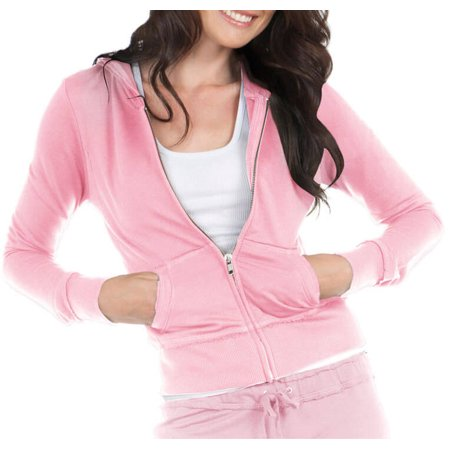 Kavio! Junior Raw Edge Long Sleeve Zip Hoodie Baby Pink M