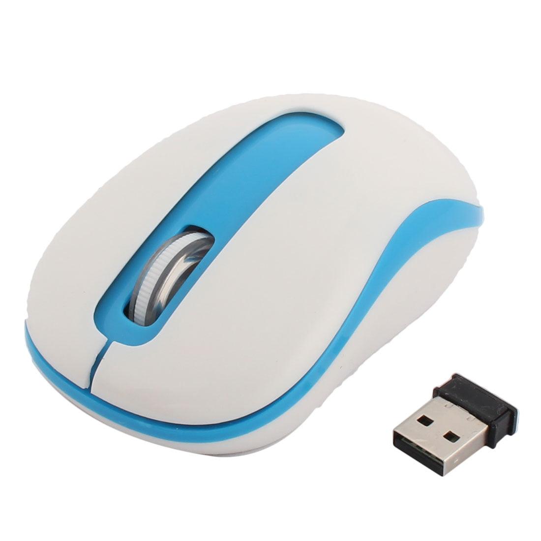 Unique Bargains Computer Wireless Portable USB Receiver Mobile Optical Mouse White Blue