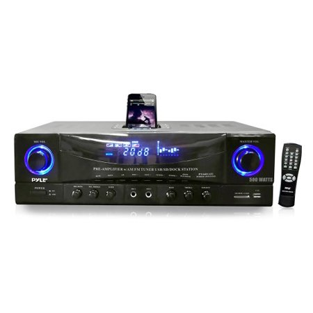Pyle Audio PYLPT4601AIUB Pyle Home PT4601AIU 500 Watts Stereo Receiver AM-FM Tuner/USB/SD/iPod Docking Station and Subwoofer Control Ipod Docking Station Home Stereo