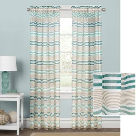 Better Homes and Gardens Hampton Stripe Sheer Curtain (Hamptons Summer Stripe)