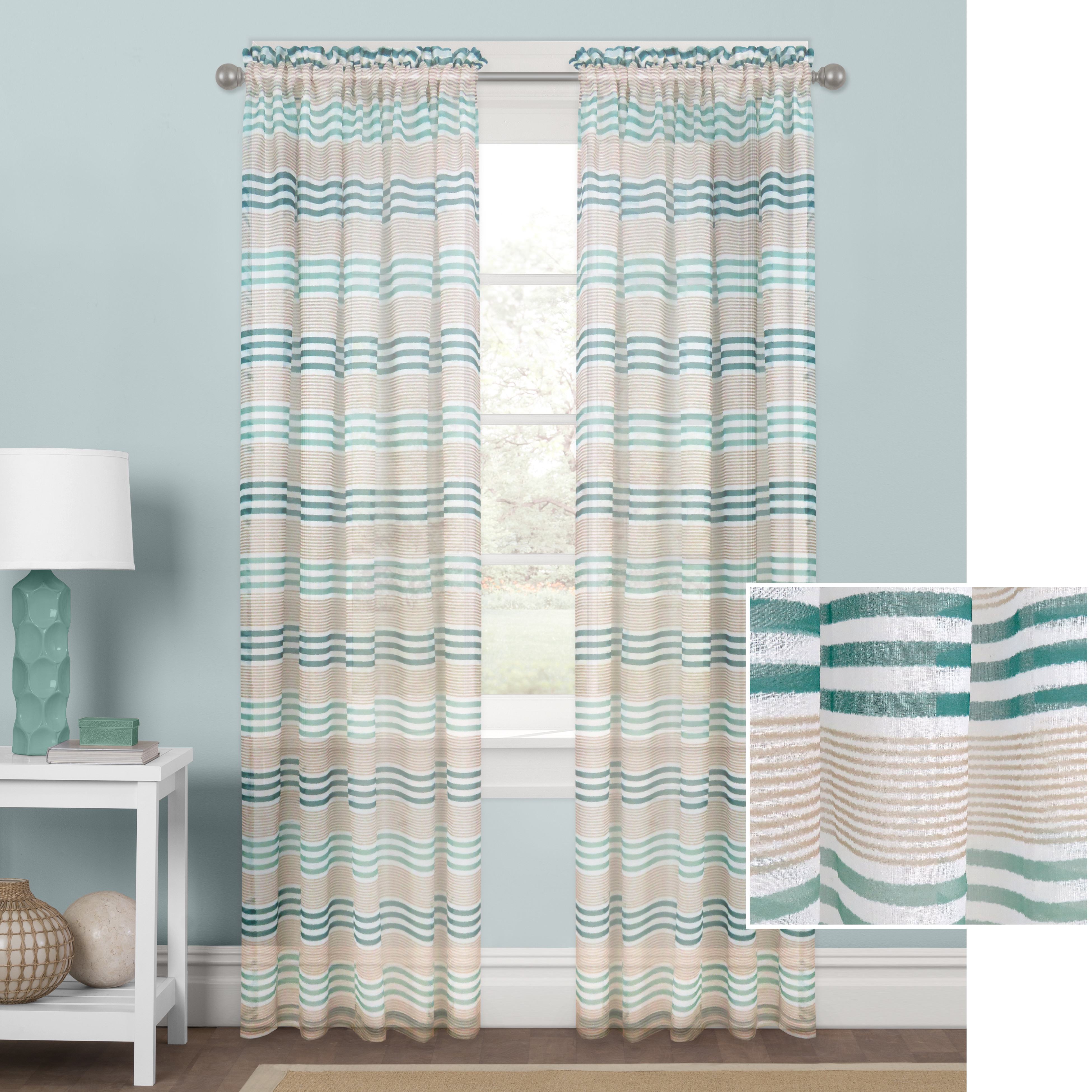 Better Homes and Gardens Hampton Stripe Sheer Curtain Panel
