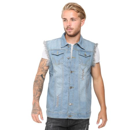 Men's Denim Vest Ripped Jean Coat Causal Jacket Collar Sleeveless Shirt Biker Sky Blue -