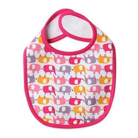 Zutano Baby Bib – Ella's Elephant Design – 100% Cotton with Hook and Loop Closure