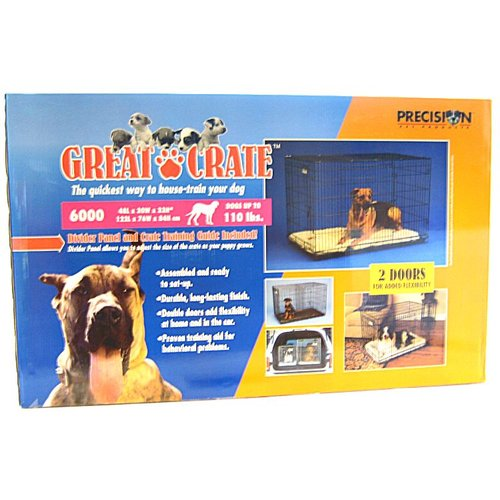 "Precision Pet Great Crate - Black Metal Pet Crate 6000 - Dogs up to 110 lbs - (48""L x 30""W x 33""H)"