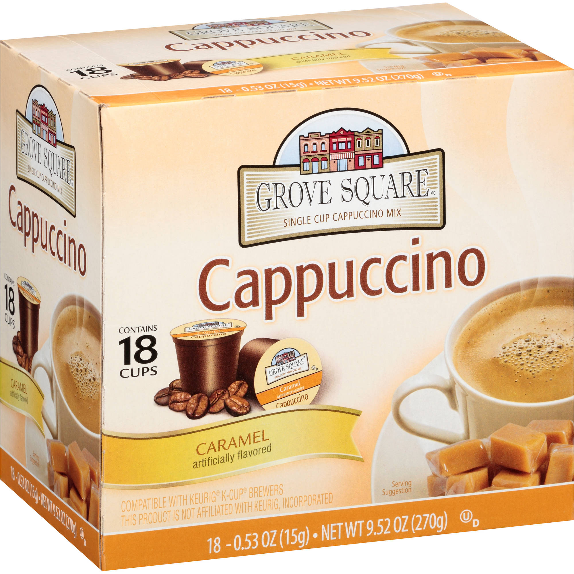 Grove Square Caramel Single Cup Cappuccino Mix, 18 count, 9.52 oz