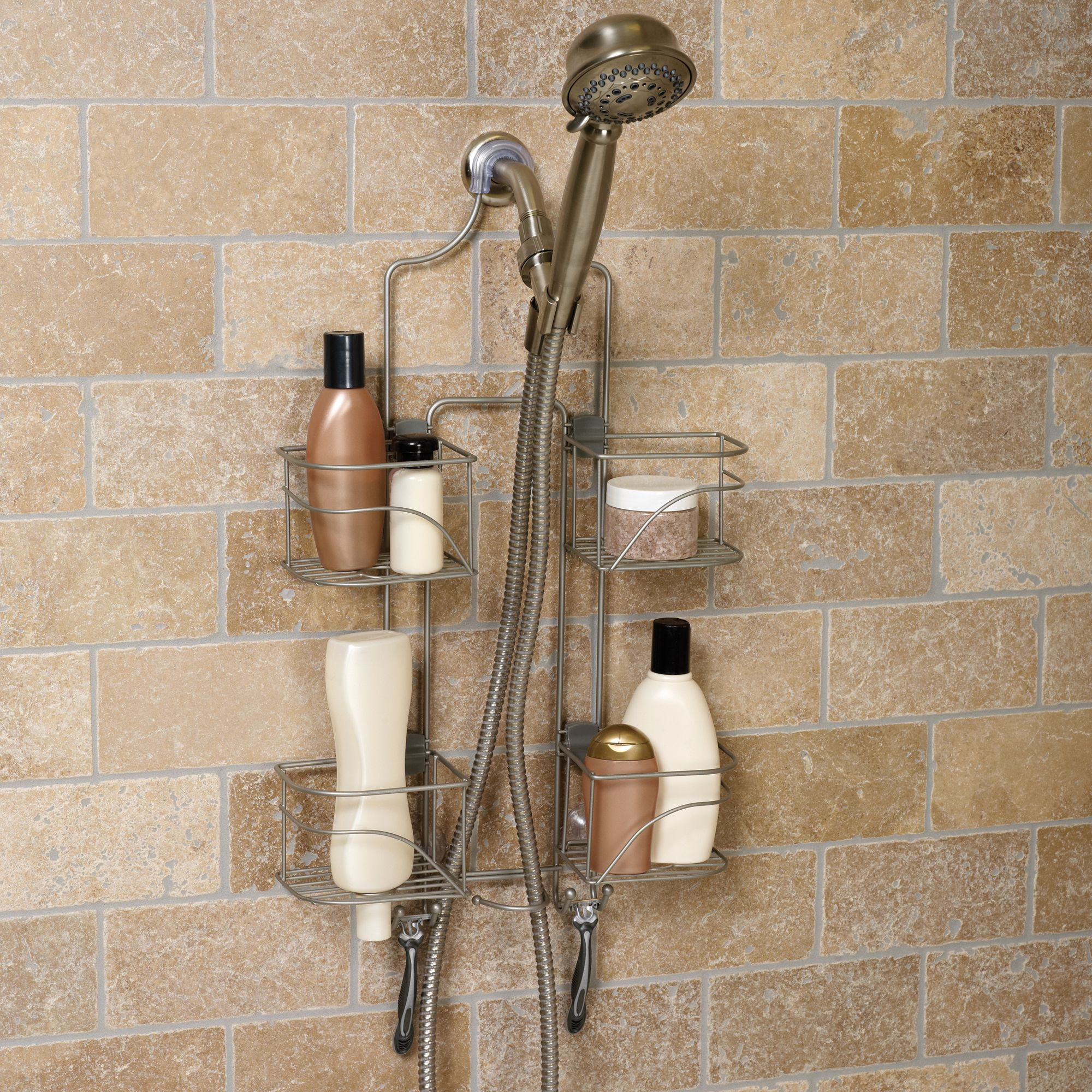 Exceptionnel Hawthorne Expanding Shower Caddy, Satin Nickel