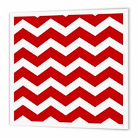 3dRose Bold Red and white zig zag chevron pattern - stylish trendy zigzags, Iron On Heat Transfer, 10 by 10-inch, For White Material