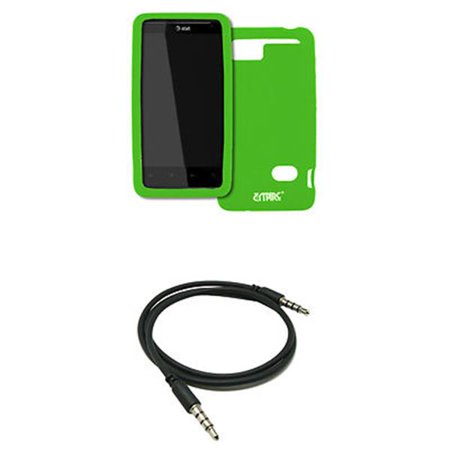 EMPIRE AT&T HTC Holiday Neon Green Silicone Skin Case Cover + 3.5mm Male to Male 20